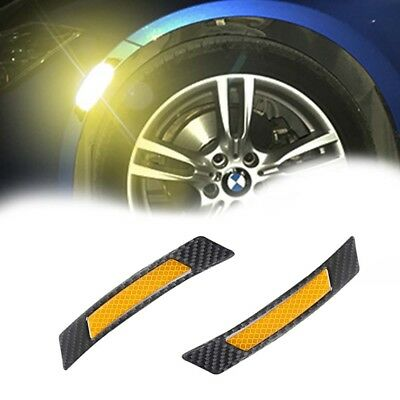 Carbon Fiber Yellow Reflective Car Wheel Eyebrow Edge Guard Protector Stickers