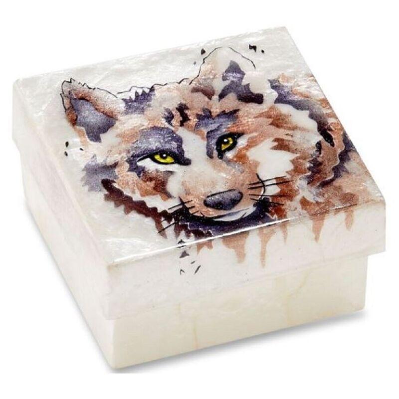 Wolf Capiz Jewelry Trinket Keepsake Box Container New