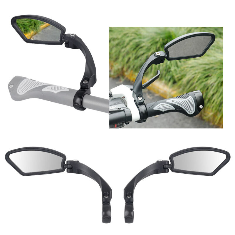 2-pack Handlebar Glass Rear view Mirror Right & Left Rectangle Road Bike Bicycle