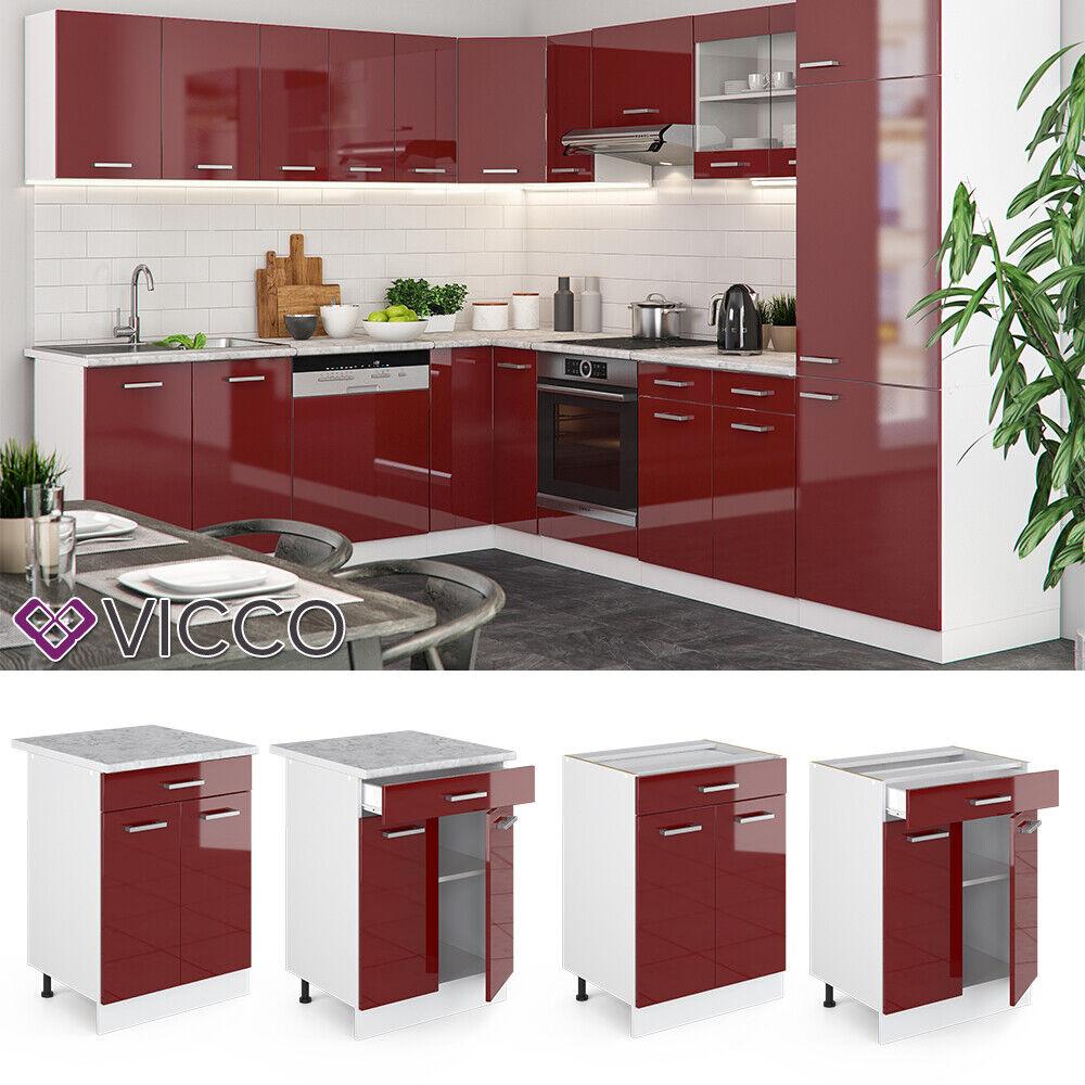 VICCO Küchenschrank Hängeschrank Unterschrank Küchenzeile R-Line Schubunterschrank 60 cm rot