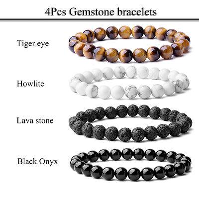 Gorgeous 8mm Natural Semi-Precious Gemstones Tiger Eye Healing Beaded Bracelets