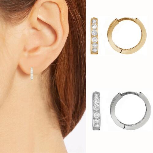 10K Solid Gold CZ Huggie Hoop Earrings 12mm Small Hoops (Yellow or White)