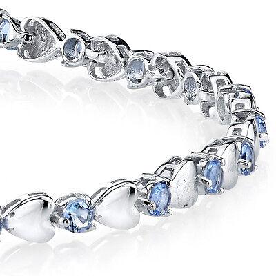 925 Sterling Silver Tanzanite Heart Shaped Cubic Zirconia Puff Tennis Bracelet (Heart Shaped Bracelets)