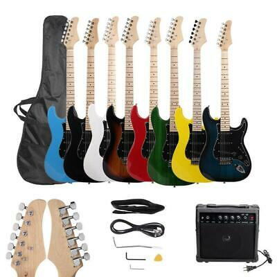 New 8 Colors Full Size Electric Guitar w/ Amp Case and Accessories Pack Beginner