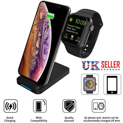 UK Charger Holder Charging Dock Stand Station for Watch Phone 11 Pro XS Samsung
