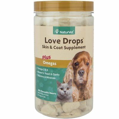 NaturVet Love Drops Dog and Cat Skin and Coat Tasty Supplement 200 count