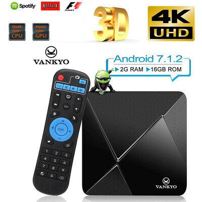 VANKYO TB80 Smart TV Box 16G Android 7.1 4K Quad Core 8GB Wifi HD Media Player
