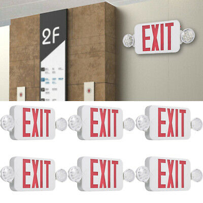 Lot Red Exit Sign Led Emergency Light Combo Adjustable Dual Head Backup Batterys