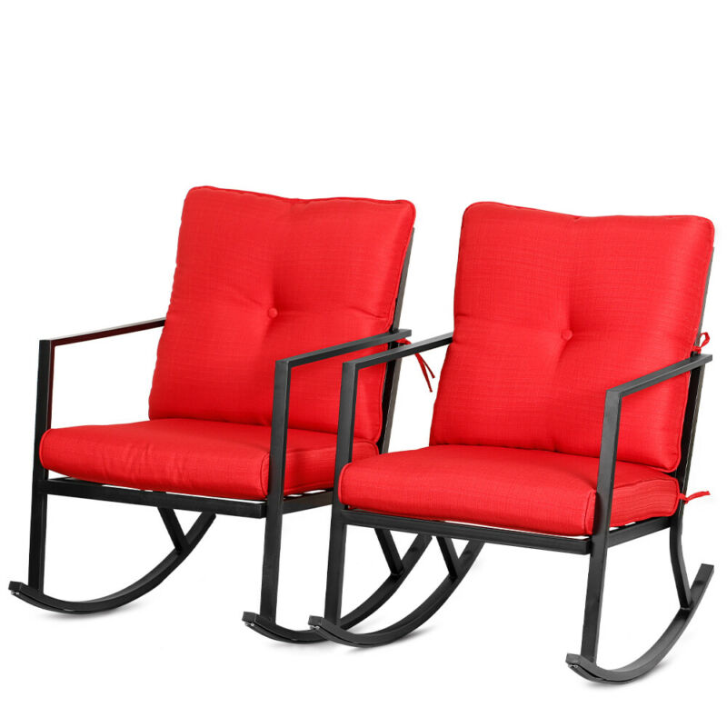 Bali Outdoor 2PCS Modern Outdoor Patio Rocking Chairs Furniture Thick Cushions