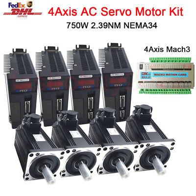 4kits 750w 2.4nm Ac Servo Motor Nema34 4axis Mach3 Motion Controller Cnc Router