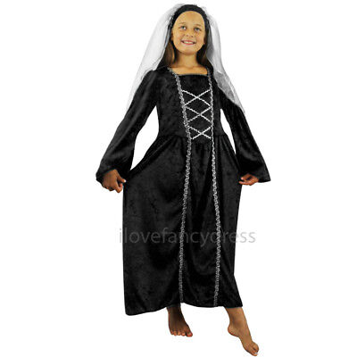 TUDOR PRINCESS BLACK FANCY DRESS COSTUME MEDIEVAL QUEEN CHILDS DRESS & HEADPIECE