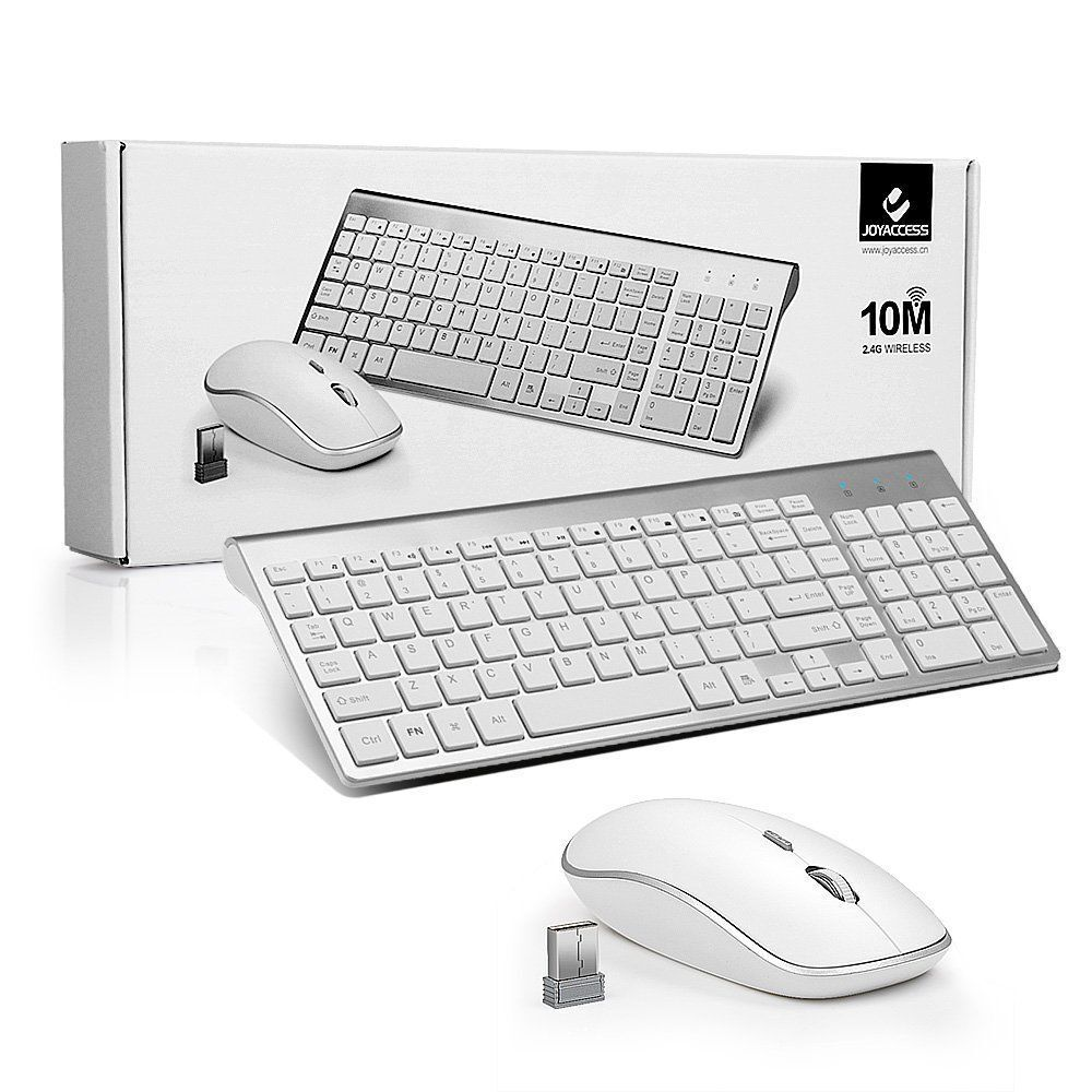 Full Size Slim Wireless Keyboard And Compact Mouse Combo Set For Mac Usb Optical Computer 24g Stock Photo