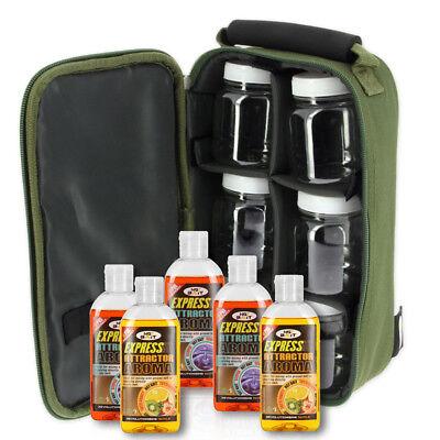 NGT Carp Fishing Tackle Glug Wallet Bag with 5 x 50ml Liquids & 6 Glug Pots Set