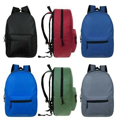 "15"" Wholesale Kids Basic Backpack in 6 Assorted Colors - Bulk Case of 24 Bookbag"
