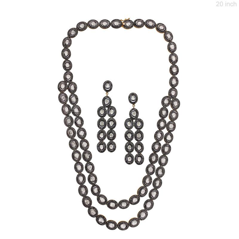 14k Yellow Gold Diamond Rose Cut Chandelier Earrings & Necklace Set 925 Silver