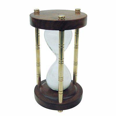 G4136: Große Sanduhr, Glasenuhr, Stundenuhr, Holz und Messing poliert 15 Minuten