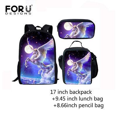 Horse Print Backpack Lunch box Pencil Pen Bag Back to School Study 3pcs Kids -