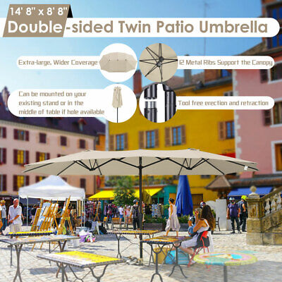 15ft Double-sided Twin Patio Umbrella Sun Shade Crank Outdoor Garden Market Sand