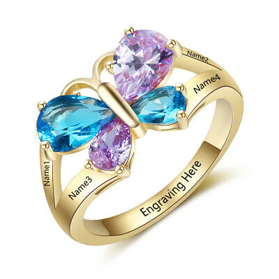 Kids Birthstone Rings (Mothers Ring Birthstone Gold Engraved 4 Stones Personalized Family Kids)