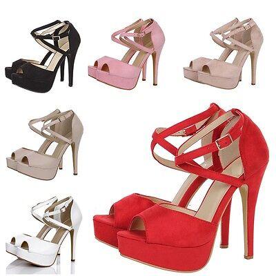 WOMENS PEEP TOE STRAPPY PLATFORM STILETTO LADIES HIGH HEEL SANDAL SHOES SIZE 3-8 Peep Toe High Heel Stilettos