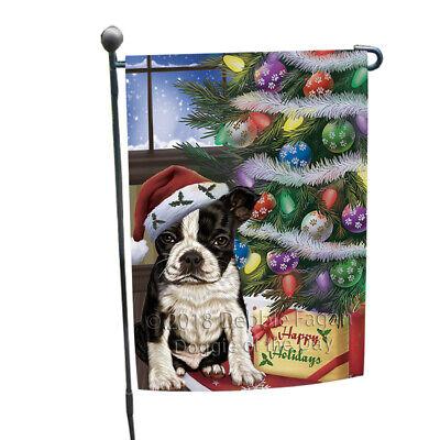 Christmas Holidays Boston Terrier Dog Tree Presents Garden Flag GFLG53867