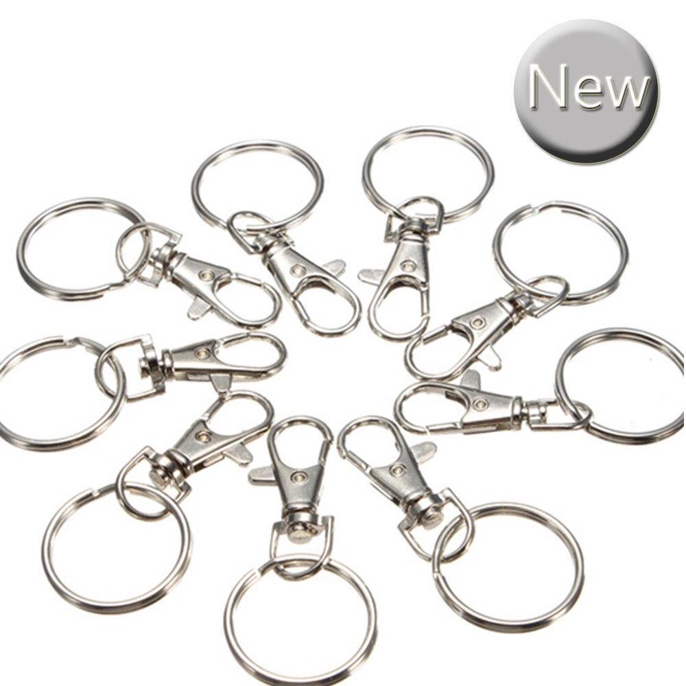 10//20 Pcs Swivel Clasps Split Rings Key Chain Jewelry Lobster Clips Findings