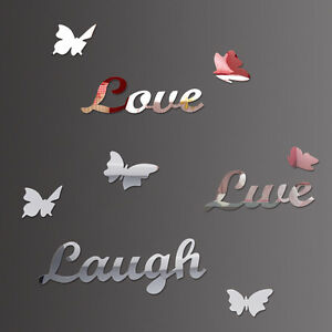 LIVE LOVE LAUGH Butterfly 3D Mirror Wall Sticker Removeable Silver Art Decal