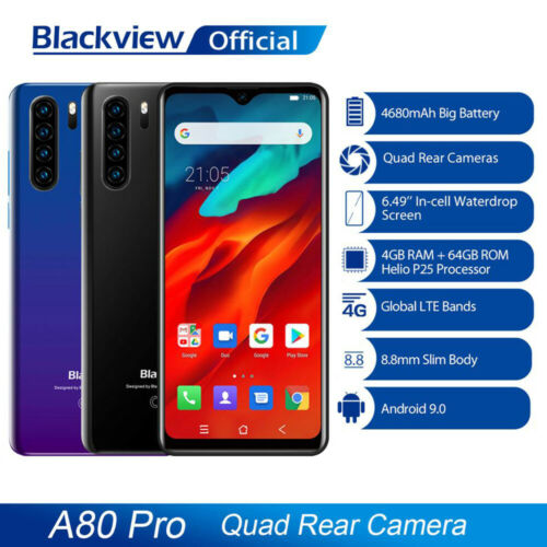 "Blackview A80 Pro 4G+64GB Handy Smartphone 6,49"" Face ID 13MP Quad Hinten Kamera"