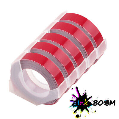 5 Red Rolls Label Tape Compatible Dymo 3d 38 Embossing Label Maker 9mm X 3m