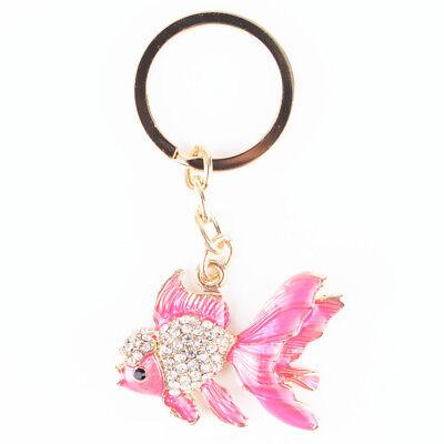 Pink Goldfish Fish Rhinestone Jewelry Crystal Pendant Charm Purse Key Chain Gift - Fish Keychain