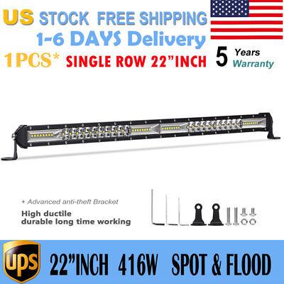 "Single Row 22""Inch 416W LED FOG Light Bar Flood Spot Beam Offroad Truck UTV 23"""