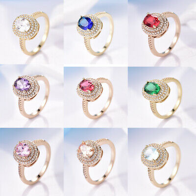 Best Engagement Womens Solitaire Oval CZ Crystal Rings Gold Filled Wedding (Best Gold Wedding Rings)