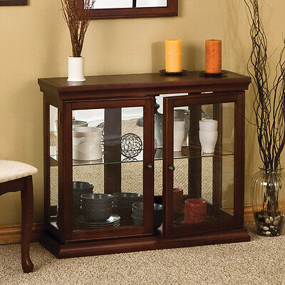 Brown Glass Accent Curio Cabinet Furniture Home Living Room Decor Office Study