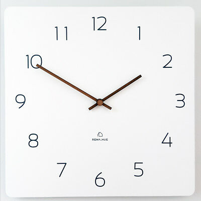 Square Wall Clock Silent &Non-Ticking Quartz 11.4 Lightweight 0.55lb Eco Wooden