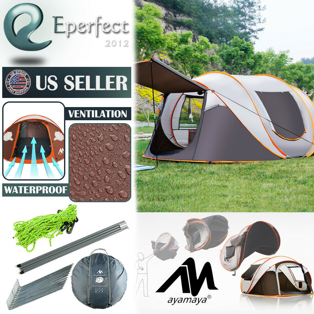 Ayamaya Camping Pop Up Tent Waterproof 4-6 Person Instant Dome Family 2-Layer US