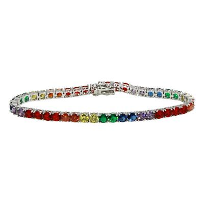 Silver Multi Color Stone Bracelet (Sterling Silver Multi Color Rainbow CZ Stones Tennis Bracelet )