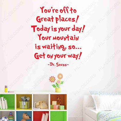 Dr Seuss Quote Your Day Mountain Wall Stickers Removable Kids Decor Room Decals ()