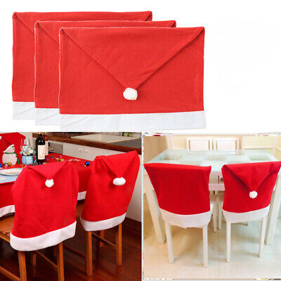 Red Christmas Decorations (1X Party Christmas Decoration Table Red Hat  Ornaments Dinner Chair Cover)