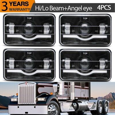 Black LED 4x6 Rectangular Projector Halo LED Headlights High Low Beam DRL Lamp for sale  USA