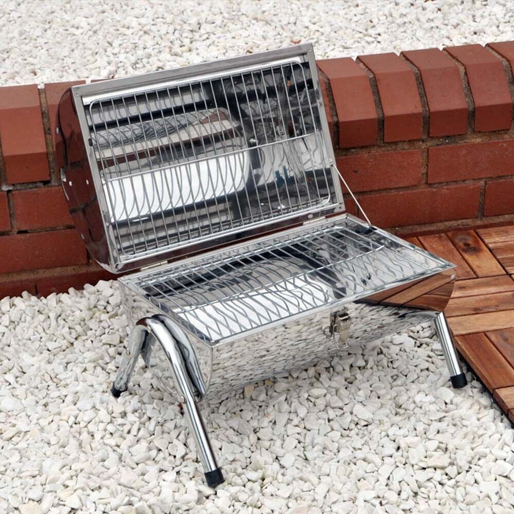 Brand New Stainless Steel Portable Barrel BBQ Double Grill Garden Camping
