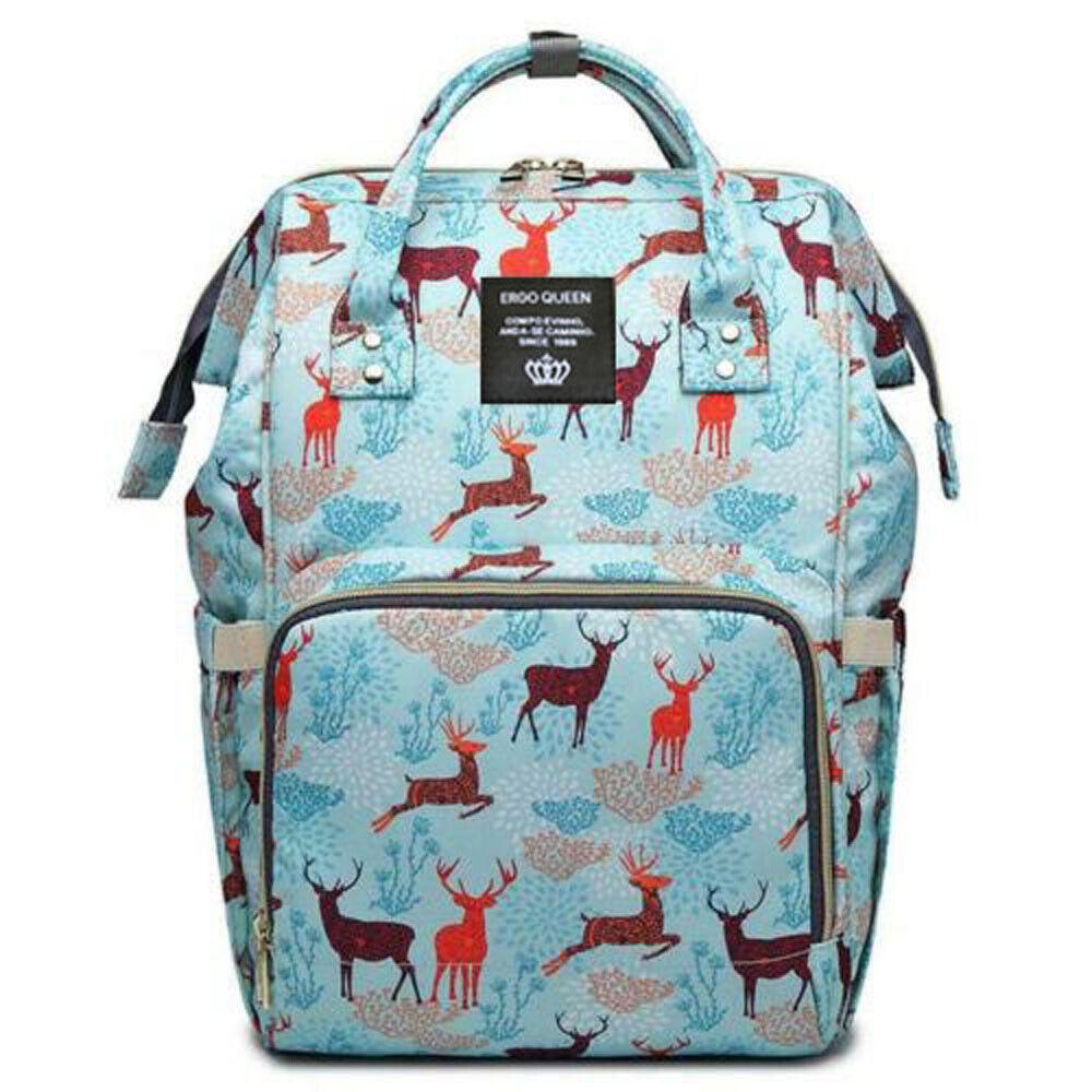 Ergo Diaper Bag Backpack Mummy Maternity Nappy Large Capacity Baby Bag Travel  Blue Sika Deer