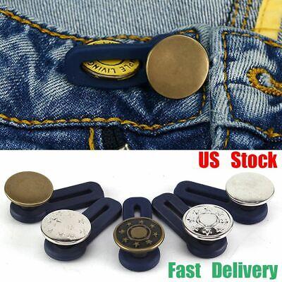 US 5Pcs Jeans Retractable Button Adjustable Detachable Extended Button For Pants