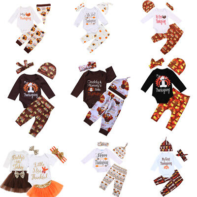 Thanksgiving Clothes Newborn Baby Boy Girl Outfits Tops Romper Leggings Hat US](Girl Thanksgiving Outfits)
