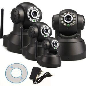 Full Set 4x Black Home IP Camera IR Indoor Security Day Night Full Surveillance