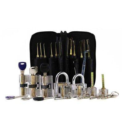 LOCKMALL 7-piece Transparent Lock + 24-piece Single Hook Unlocking Tool Set