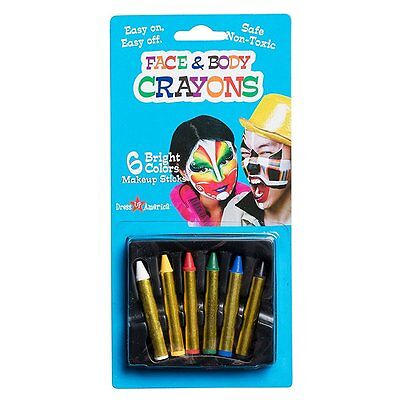 Dress Up America Kids 6 Color Crayon for Face Paint, Halloween, Washable, Makeup