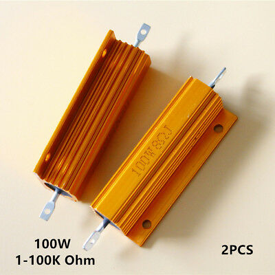2pcs 1-100k Ohm 5 100w Watt Power Aluminum Shell Housed Case Wirewound Resistor