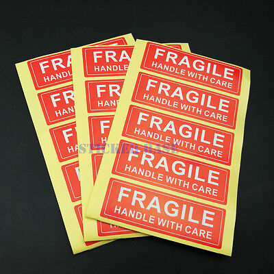 1000 Fragile 1 X 3 Sticker Handle With Care Fragile Label Shipping Glass Red