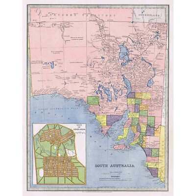 SOUTH AUSTRALIA Inset of Adelaide Street Plan Antique Map 1888 by AJ Scally