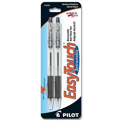 Pilot Easytouch Medium Retractable Ball Point Pens Black 2 Ea Pack Of 7
